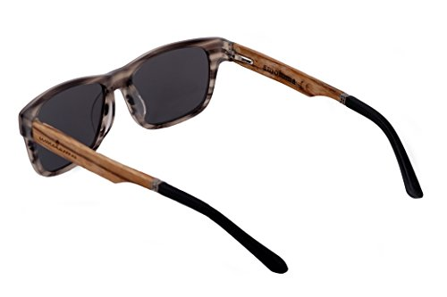 de soleil gris amoloma de style hybrides des Karée lunettes Acétate Bois qqnwA1BR