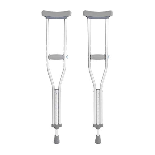 Huairdum Aluminum Alloy Adult Crutches, 82CM Short Paragraph Push Button Adjustable Comfortable Hand Grip Underarm Arm Walking with Pads Adult Walking Crutch