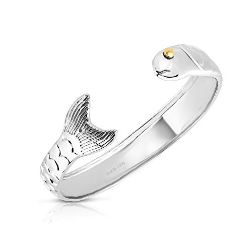 Unique Royal Jewelry Solid 925 Sterling Silver and 14k Gold Plated Cod Fish Cuff Bangle Bracelet. (Size 5 1/2