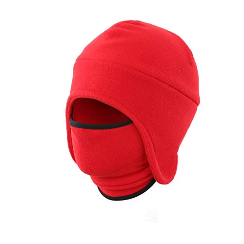 LLmoway Men Winter Windproof Fleece Beanie with Mask Warm Earflap Hat for Ski Cycling 2 in 1 Hat Red