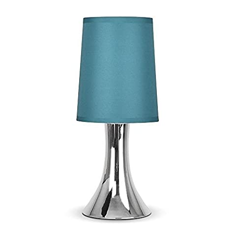 Modern Chrome Trumpet Touch Table Lamp With Turquoise Teal Fabric ...