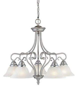 Livex Lighting 6135-91 Coronado 5 Light Brushed Nickel Chandelier with White Alabaster Glass