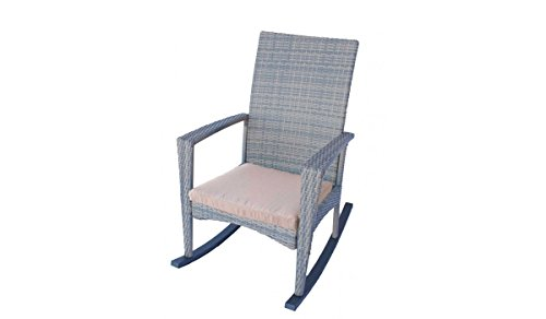 Patio Rocking Chair in Grey Wicker With Medium Beige Brown Cushions. Dola Outdoor Rocking Patio Chairs With Aluminum Frame Measuring 39H x 25W x 36D Inches