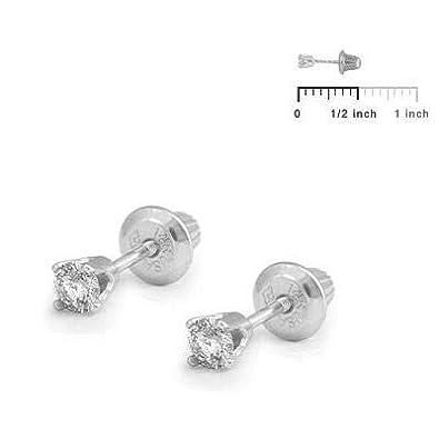 14K Yellow Or White Gold Diamond 4-Prong Screw Back Stud Earrings Loveivy cegma-wg57 Girl Jewelry