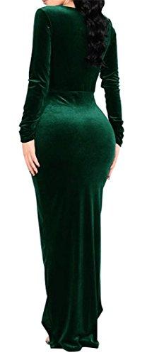 Velour Fessura collo Manicotto V Womens Maxi Linguetta Verde Sexy Grande Lungo Nerastro Vestito Anteriore 0wUFBUq