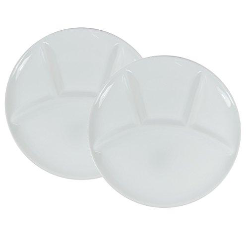Viva-Haushaltswaren - 2 weiße Fondueteller / Grillteller Ø 25 cm aus Porzellan