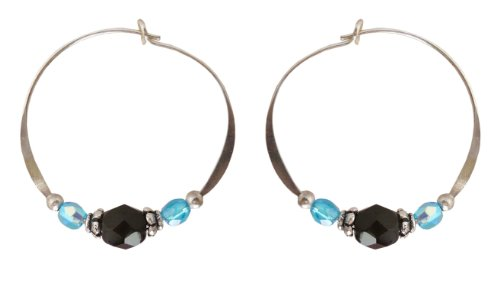 Bali Sky Medium Silverplated Blue Black Bead Hoop Earrings HM008 ()