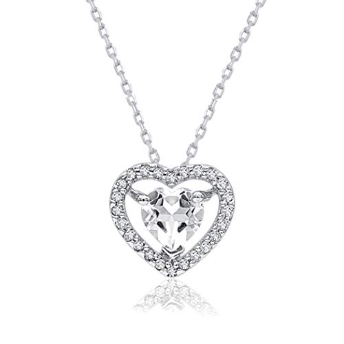 0.07 Carat Natural Diamond Pendant Necklace 925 Sterling Silver (HI Color, I3 Clarity) Heart Shaped Diamond Pendant Necklace for Women Diamond Jewelry Gifts for Women ()