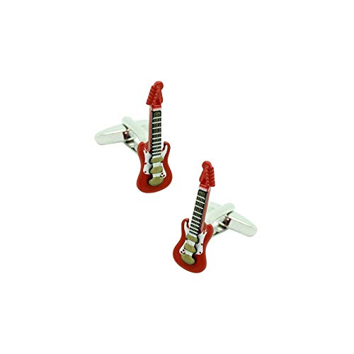 MasGemelos - Gemelos Guitarra Eléctrica Roja 3D Cufflinks: Amazon.es ...