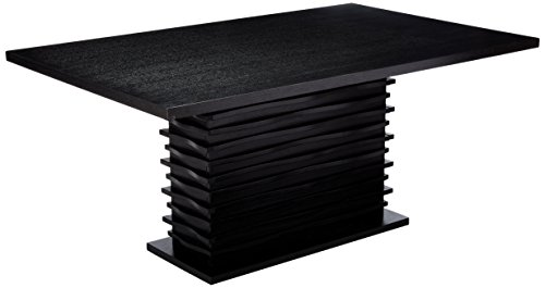 Modern Rectangular Table Dining (Coaster Home Furnishings Stanton Modern Contemporary Wave Design Rectangular Dining Table - Black)