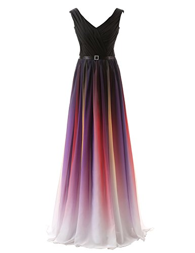 Wedding Evening Prom Gown (Sarahbridal Women's Ombre Long Evening Prom Dresses Chiffon Wedding Party Gowns US8)