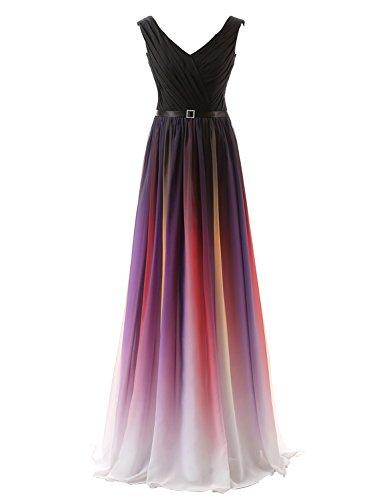 Clearbridal Vestido degradado formal, de gasa transparente, para vestido de noche, para mujer, maxi vestido, dama de honor CSD231 Gradient (V-Ausschnitt) 40