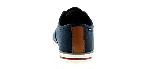 Ben Sherman Hombre Lona Zapatos 5 Orificios Cierre DE Encaje Blanco Suela con Contraste Rayas Detalle, Panel De Contraste a Lengua y Talón - Azul Marino - GB Tallas 6-12