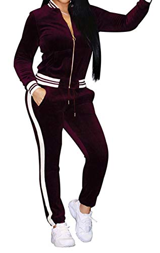 HannahZone Women's 2 Pieces Outfits Long Sleeve Zipper Jacket and Pants Set Tracksuits Wine Red
