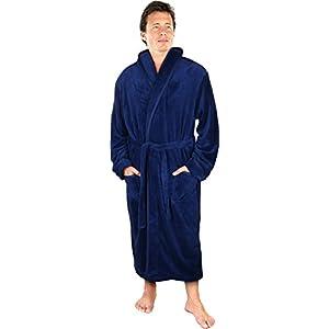 NY Threads Luxurious Men's Shawl Collar Fleece Bathrobe Spa Robe (Navy, L/XL)