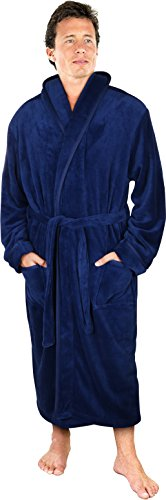 NY Threads Luxurious Men's Shawl Collar Fleece Bathrobe Spa Robe (Navy, L/XL) Big Brother Embroidered T-shirt