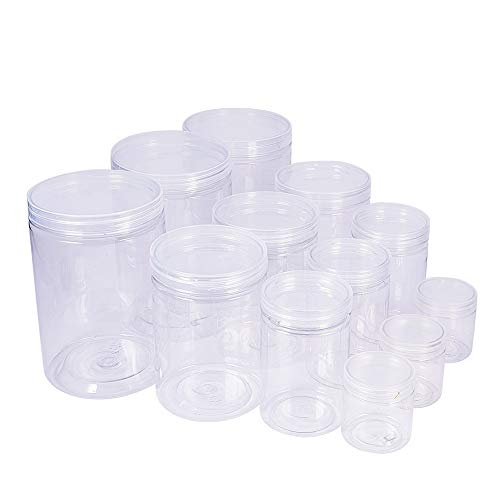 BENECREAT 12 Pack Clear Plastic Box for Candy cylinders, Display, Storage, Packaging, organizing and showcasing - 6x4, 4.7x3.3, 4x2.5, 2.2x2
