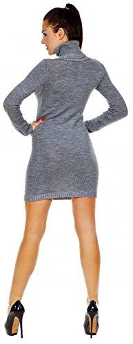 maglia alto in Donna collo Vestito Grey 888z Ville Zeta dolcevita aderente Light n0WxaIt78T