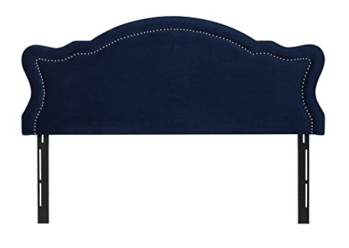 Jennifer Taylor Home Catherine Collection Antique Upholstered Nailhead Trim Camel Back Luxury King Size Size Headboard With Trim, King Size, Navy Blue