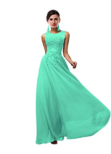 1907e1f71c6eb Lily Anny Women Long Sheer Neck Evening Bridesmaid Dresses Prom Gowns  L004LF Bright Turquoise US20W