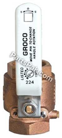 Groco Replacement Full Flow In-Line Ball-Valve, 1-1/2'' Npt, Bronze
