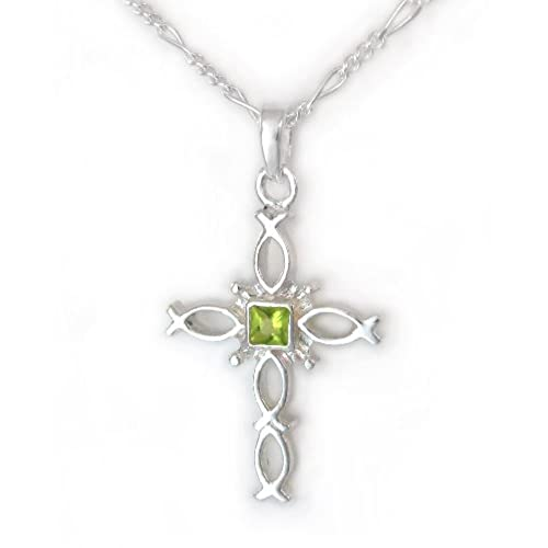 Peridot cross necklace for women amazon sterling silver ichthus fish cross and birth crystal necklace august green mozeypictures Image collections