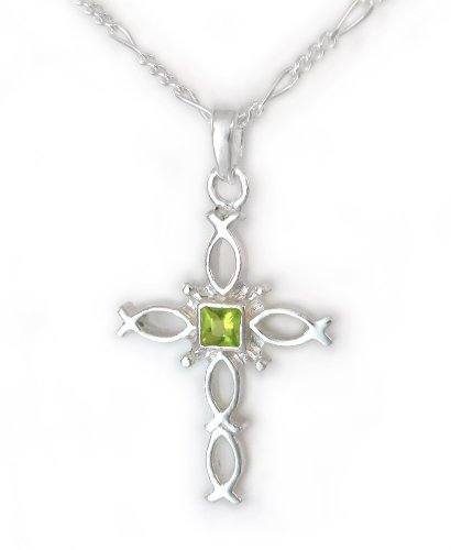 (Sterling Silver Ichthus Fish Cross and Birth Crystal Necklace, August Green)