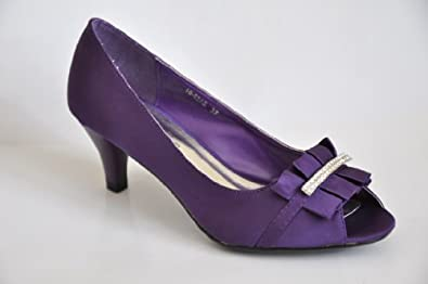 Satin Purple Diamante Mid Heel Wedding Bridal Prom Evening Shoes