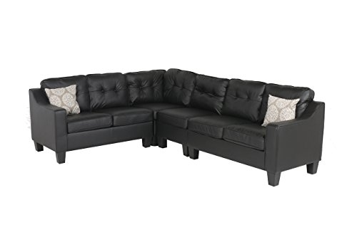Cheap Oliver Smith – Large Black Leather Cloth Modern Contemporary Quality Sectional Left or Right Adjustable Sectional 106″ x 82.5″ x 34″ s295