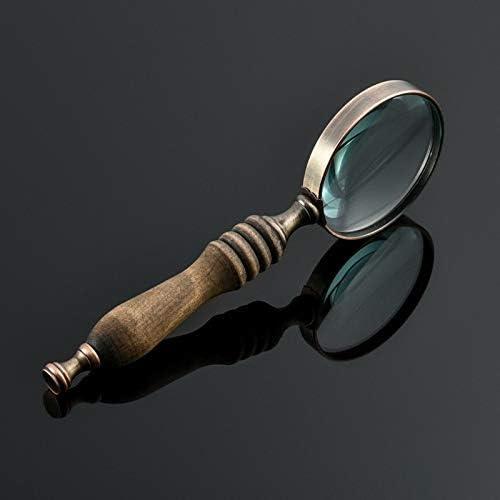 Reading Identification Painting 10 Times Retro Glass Lens Magnifying Glass KONGZIR Handheld high Magnification Magnifying Glass