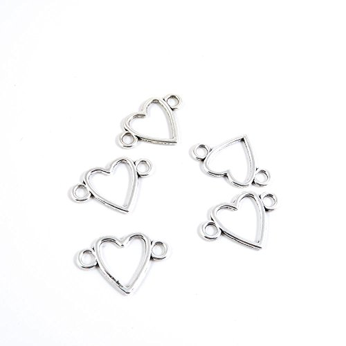 Heart Connector - 50 Pieces Antique Silver Tone Jewelry Making Charms L1MN6 Heart Connector Pendant Ancient Findings Craft Supplies Bulk Lots