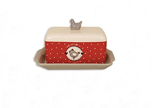 Dish Hen Covered (Ceramic Butter Dish with Cover, Welcome to the Country)