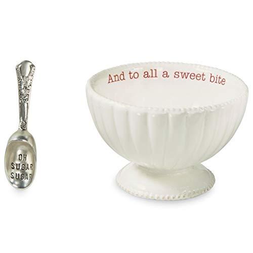 Mud Pie 48500001B Pedestal Sweet Bite Candy Dish Set, One Size, White