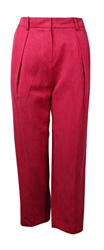 Anne Klein Womens Linen Pleated Cropped Pants Red ()