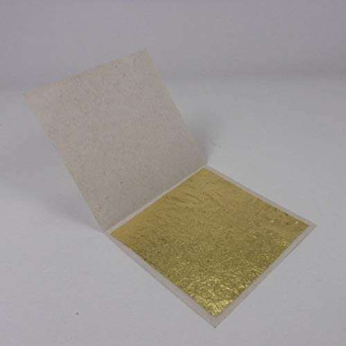 """Thai Tradition Gold Leaf 24 Karat 999/1000 Pure Gold 1.5"""" x 1.5"""" For Buddhist worship, Arts & Crafts, Decoration, Metal Working, Health & Beauty, Spa, Foods & Bakery Decoration, Edible 10 Pcs -"""