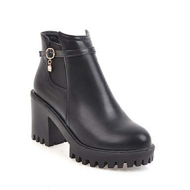 Boots Booties Bootie Chunky Women's Boots CN39 Fall Shoes EU39 Boots UK6 Fashion Leatherette Toe RTRY Ankle Buckle Heel Combat Rhinestone US8 Winter Boots Round TxFw0PPn