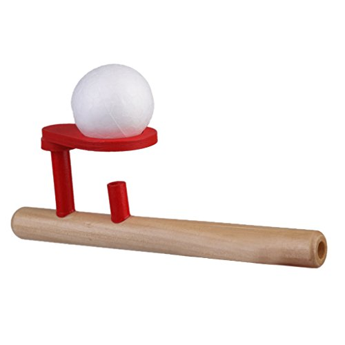 Classic Wooden Games Floating Blow Pipe & Balls Blowing Toys by Generic