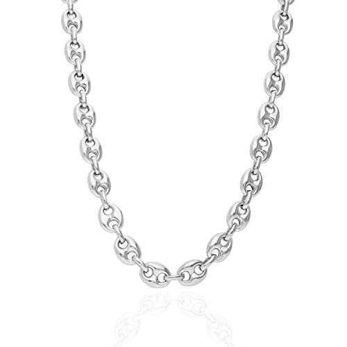 925 Sterling Silver 9.5mm Puffed Anchor Mariner Link Chain Necklace 22