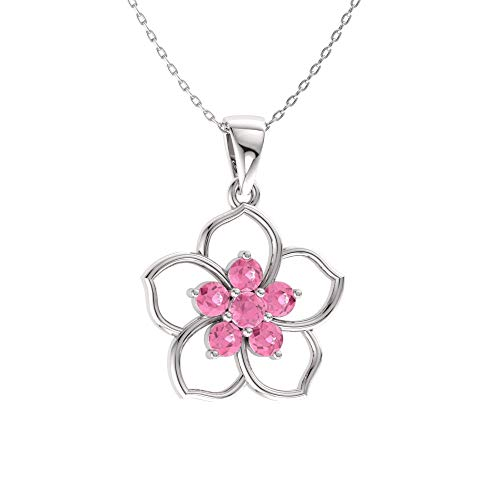 Diamondere Natural and Certified Pink Tourmaline Flower Necklace in 14k White Gold | 0.21 Carat Pendant with -