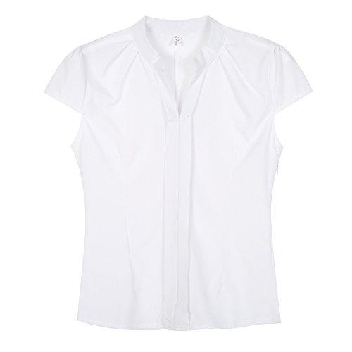ce2d5279be6ef EFINNY Women Office T-Shirt Uniform OL V Neck Henley Blouse Workwear Tops  80%