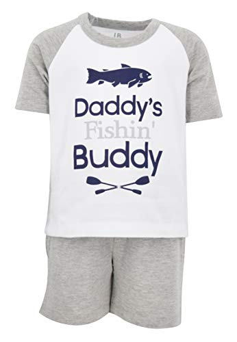 (Unique Baby Boys Dad Fishin Buddy 2 Piece Father's Day Fishing Outfit (2T) Blue )