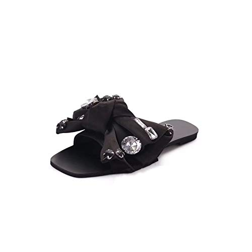 Sandals Crystal Bowie Slippers Sandals Women Shoes Summer Peep Toe Women Slides Ladies Outdoor Party Leather Flats Selling,Black,8.5 ()