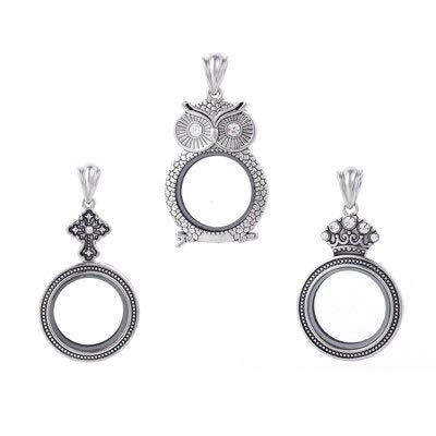 3pcs/lot 2016 Newest Design Silver Plated Owl Cross Crown Shape Floating Locket Necklace Pendant Antique Floating Locket Ktpd09
