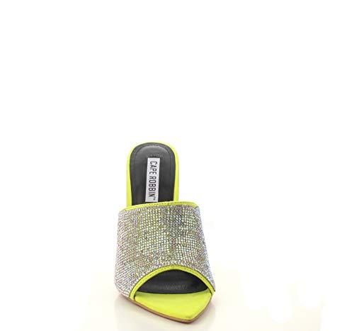 Shoes2Die4 Cape Robbin Tiffani Lime Suede Rhinestone Embellished Pointed Open Toe Mule Heel