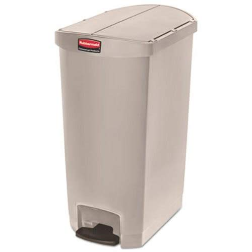 Rubbermaid Commercial 1883551 Slim Jim Resin Step-On Container End Step Style 18 gal Beige