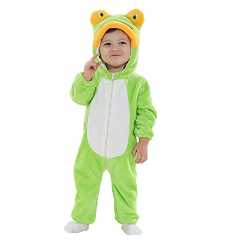 M&A Unisex Baby Romper Winter Frog Pajamas Flannel Jumpsuit Costume Cosplay -