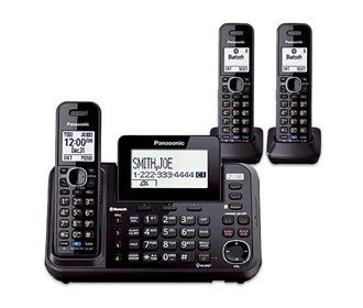 Panasonic KX-TG9541B DECT 6.0 Plus Technology Link-to-Cell 2 Line Expandable Digital Cordless Telephone (3 Handset)