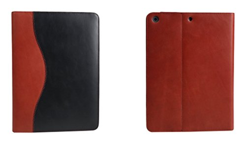 Bear Motion Luxury Top Layer Buffalo Hide Vintage Leather Case for iPad Air 1 and New iPad 2017 Model - Support Smart Cover Function iPad Air, Curve, Black/Red