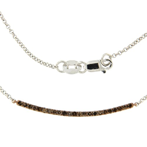 Prism Jewel 0.26 Carat Round Brilliant Cut Brown Diamond Tennis Necklace with Rolo Chain, 925 Sterling Silver