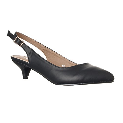 Riverberry Women's Bella Pointed Toe Sling Back Low-Height Pump Heels, Black PU, 6.5
